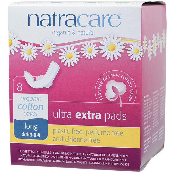 Natracare Ultra Extra Pads Long (Wings) (8 pack) - Essentially Health Online Vegan Health Store