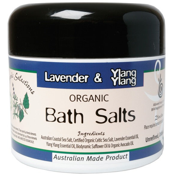 Organic Selections Bath Salts Lavender & Ylang Ylang 250g - Essentially Health Online Vegan Health Store