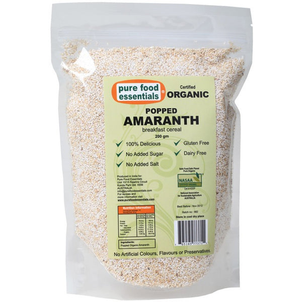 Pure Food Essentials Popped Amaranth  200g - Essentially Health Online Vegan Health Store Afterpay