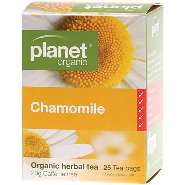 Planet Organic Herbal Tea Bags Chamomile 25 bags - Essentially Health Online Vegan Health Store