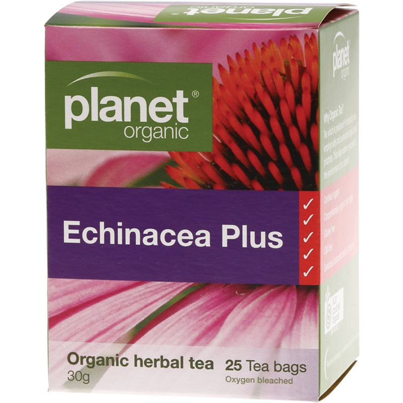 Planet Organic Herbal Tea Bags Echinacea Plus 25 bags - Essentially Health Online Vegan Health Store Afterpay