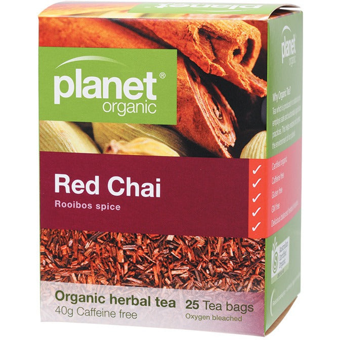 Planet Organic Herbal Tea Bags Red Chai 25 bags - Essentially Health Online Vegan Health Store Afterpay