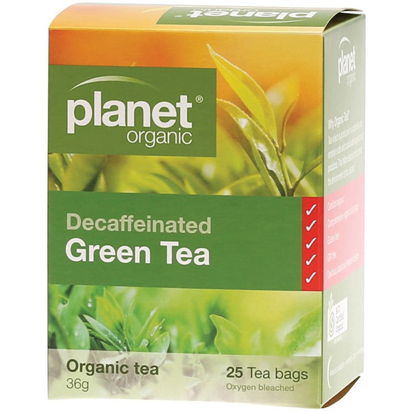 Planet Organic Herbal Tea Bags Decaffeinated Green Tea 25 bags - Essentially Health Online Vegan Health Store