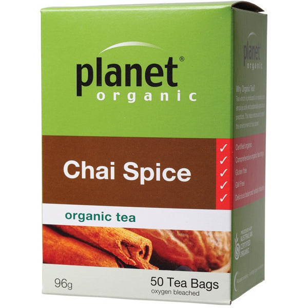 Planet Organic Herbal Tea Bags Chai Spice 50 bags - Essentially Health Online Vegan Health Store