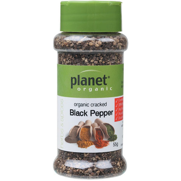Planet Organic Spices Black Pepper - Cracked 55g - Essentially Health Online Vegan Health Store