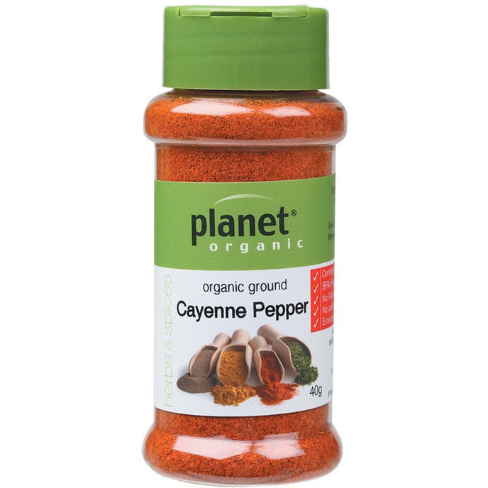 Planet Organic Spices Cayenne Pepper 40g - Essentially Health Online Vegan Health Store