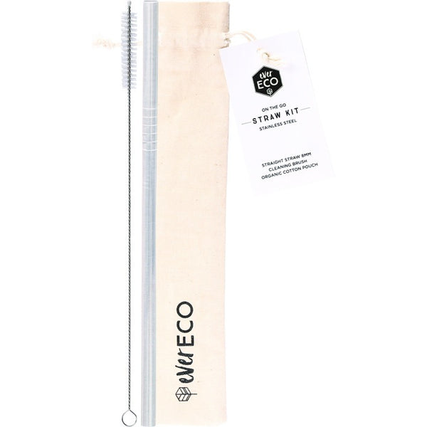 Ever Eco Stainless Steel Straw - Straight On-The-Go Straw Kit - S/Steel - Essentially Health Online Vegan Health Store Afterpay