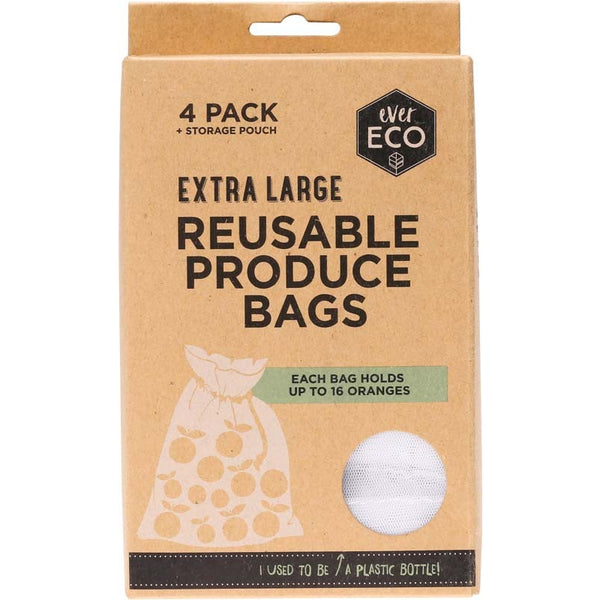 Ever Eco Reusable Produce Bags + Storage Pouch (4 pack) - Essentially Health Online Vegan Health Store