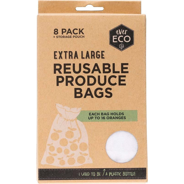 Ever Eco Reusable Produce Bags + Storage Pouch (8 pack) - Essentially Health Online Vegan Health Store