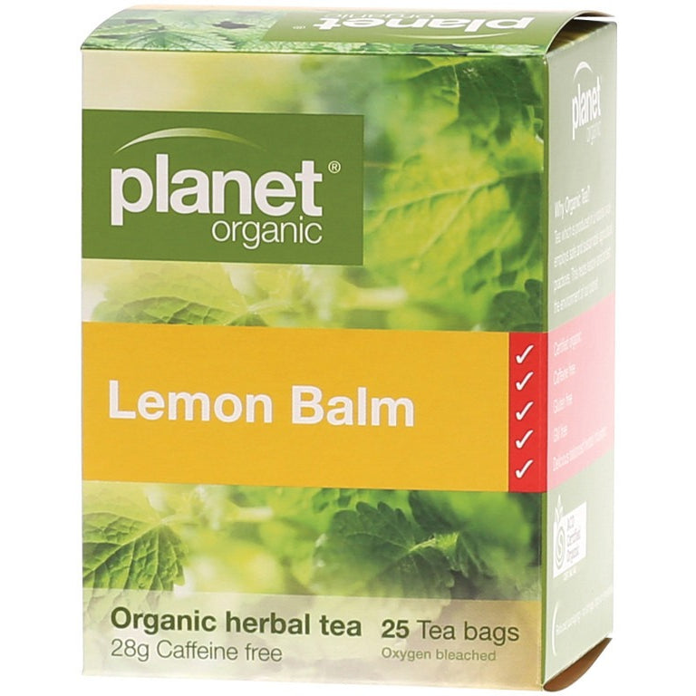 Planet Organic Herbal Tea Bags Lemon Balm 25 bags - Essentially Health Online Vegan Health Store