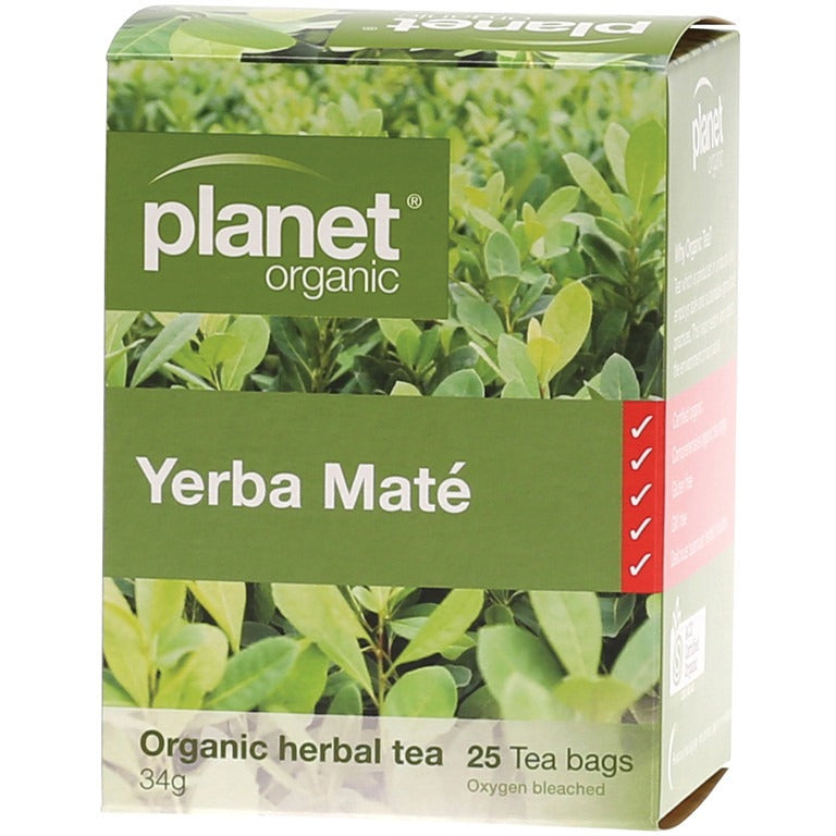 Planet Organic Herbal Tea Bags Yerba Mate 25 bags - Essentially Health Online Vegan Health Store Afterpay