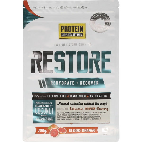 Protein Supplies Australia Restore Hydration Recovery Drink Blood Orange 200g - Essentially Health Online Vegan Health Store Afterpay