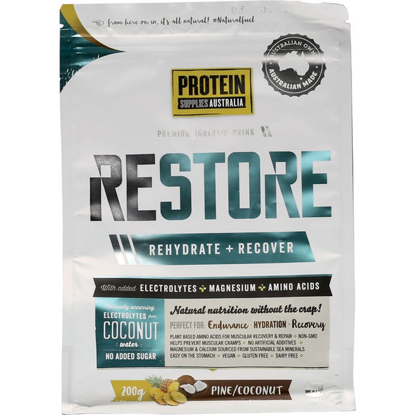 Protein Supplies Australia Restore Hydration Recovery Drink Pine Coconut 200g - Essentially Health Online Vegan Health Store Afterpay