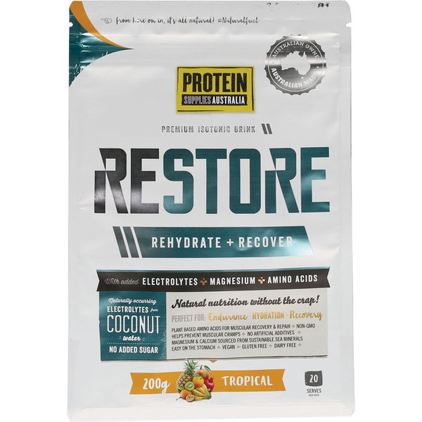 Protein Supplies Australia Restore Hydration Recovery Drink Tropical 200g - Essentially Health Online Vegan Health Store Afterpay