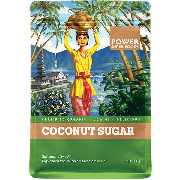 "Power Super Foods Coconut Sugar (Sustainably Sweet) ""The Origin Series"" 500g - Essentially Health Online Vegan Health Store Afterpay"