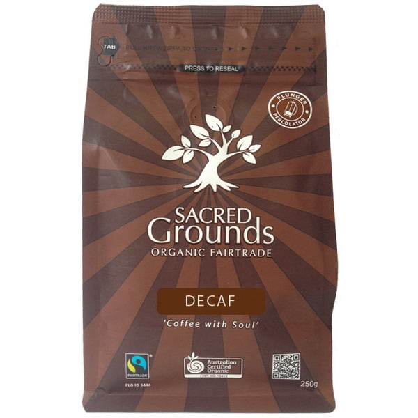 Sacred Grounds Coffee Ground (Plunger) Fair Trade Organic - Decaf 250g - Essentially Health Online Vegan Health Store Afterpay