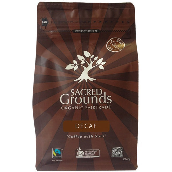 Sacred Grounds Whole Coffee Beans Fair Trade Organic - Decaf 250g - Essentially Health Online Vegan Health Store Afterpay