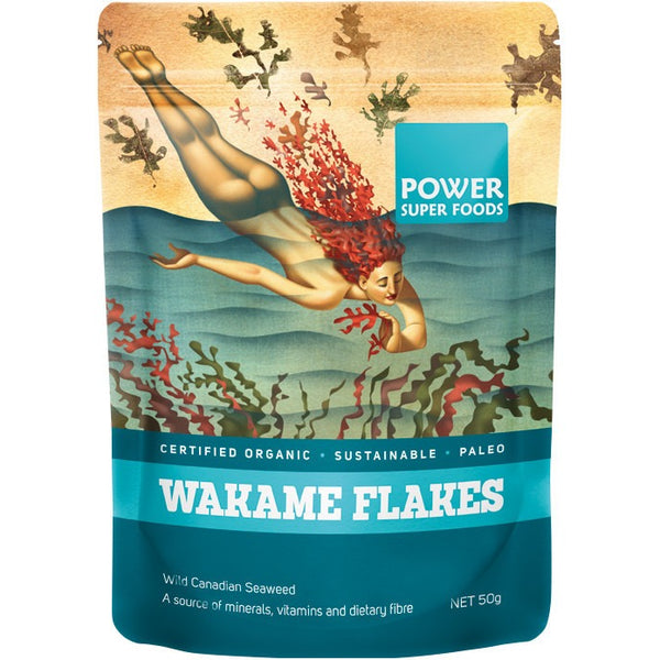 "Power Super Foods Wakame Flakes (Wild Canadian Seaweed) ""The Origin Series"" 50g - Essentially Health Online Vegan Health Store"