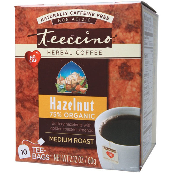 Teeccino Herbal Coffee Bags Hazelnut 10 bags - Essentially Health Online Vegan Health Store Afterpay