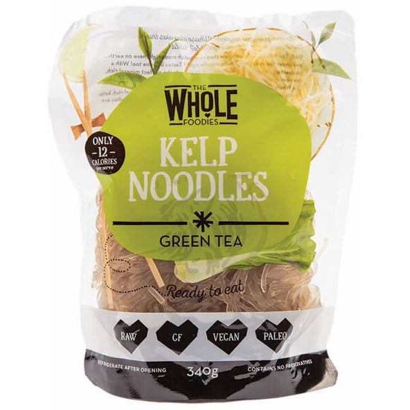 The Whole Foodies Kelp Noodles Green Tea 340g - Essentially Health Online Vegan Health Store