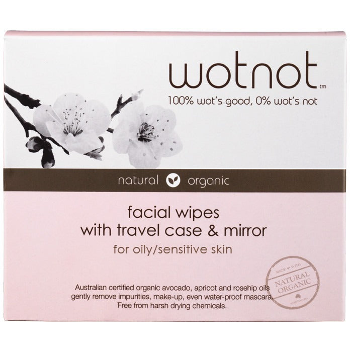 Wotnot Facial Wipes Oily & Sensitive Skin with Travel Case (25 pack) - Essentially Health Online Vegan Health Store