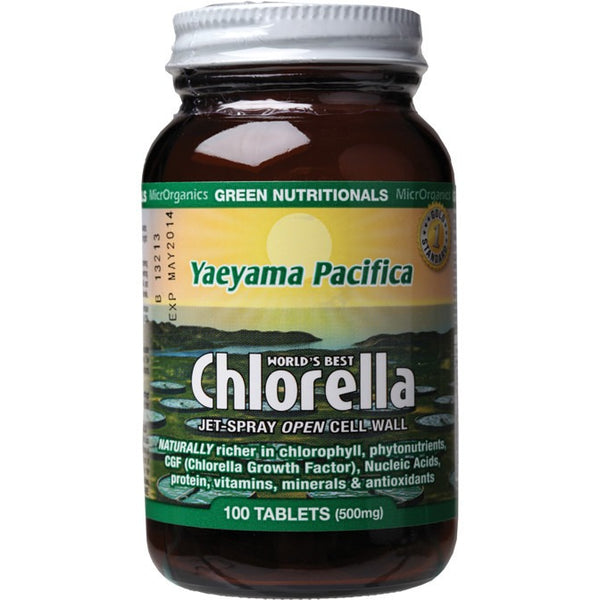 Green Nutritionals Yaeyama Pacifica Chlorella 100 Tablets (500mg) - Essentially Health Online Vegan Health Store