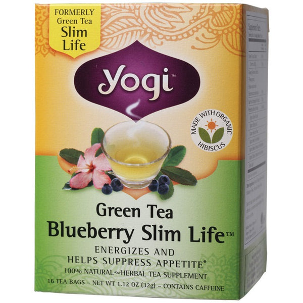 Yogi Tea Herbal Tea Bags Green Tea Blueberry Slim Life 16 bags - Essentially Health Online Vegan Health Store