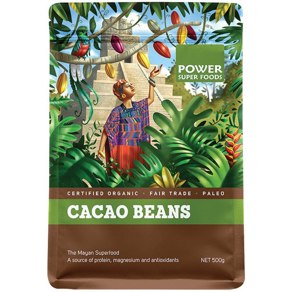 "Power Super Foods Cacao Beans ""The Origin Series"" 500g - Essentially Health Online Vegan Health Store"