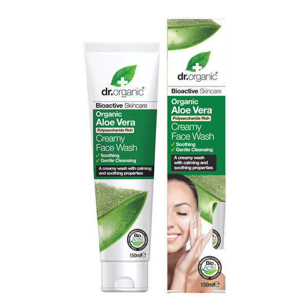 Dr Organic Creamy Face Wash Organic Aloe Vera 150ml - Essentially Health Online Vegan Health Store Afterpay