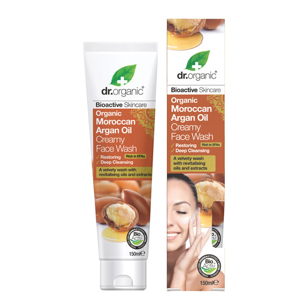 Dr Organic Creamy Face Wash Organic Moroccan Argan Oil 150ml - Essentially Health Online Vegan Health Store Afterpay