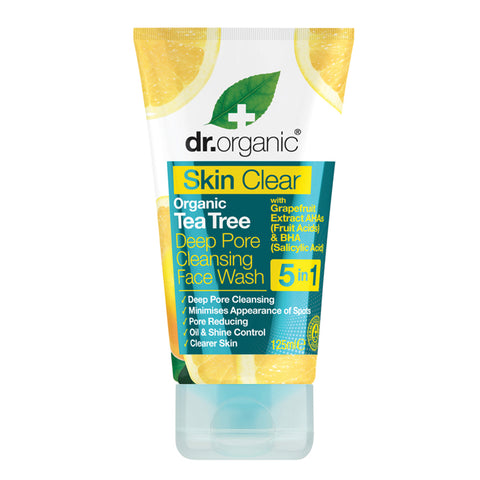 Dr Organic Deep Pore Cleansing Face Wash  Skin Clear - Organic Tea Tree 125ml