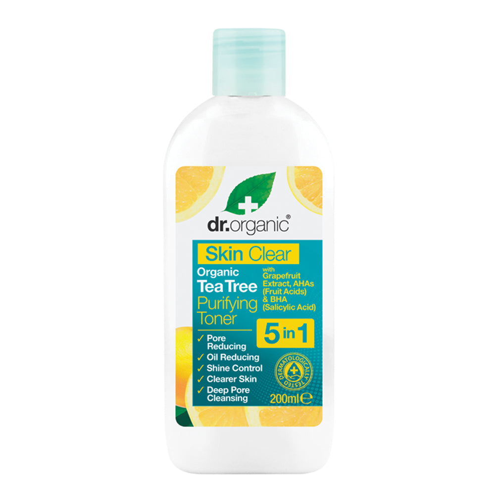 Dr Organic Purifying Toner Skin Clear - Organic Tea Tree 200ml - Essentially Health Online Vegan Health Store Afterpay