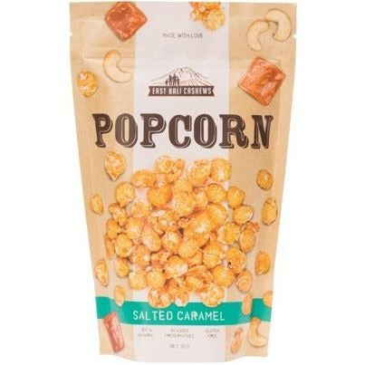 East Bali Cashews Salted Caramel Popcorn 90g - Essentially Health Online Vegan Health Store