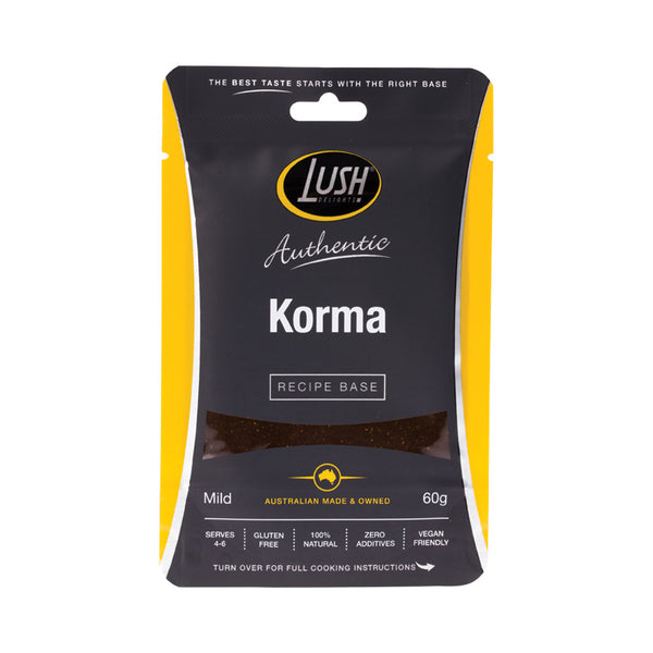 Lush Delights Korma Mild Recipe Base - 60g - Essentially Health Online Vegan Health Store Afterpay