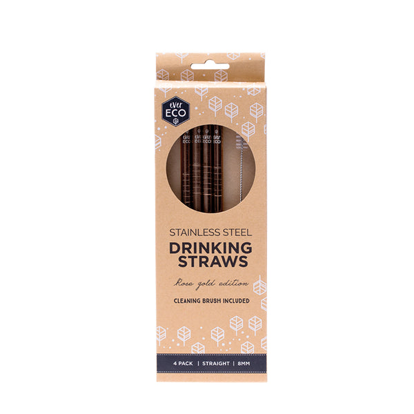Ever Eco Stainless Steel Rose Gold Drinking Straw - Straight - Four Pack - Essentially Health Online Vegan Health Store Afterpay