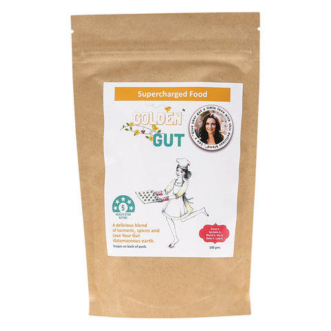 Supercharged Food Golden Gut Powder Diatomaceous Earth with Turmeric & Ginger 100g