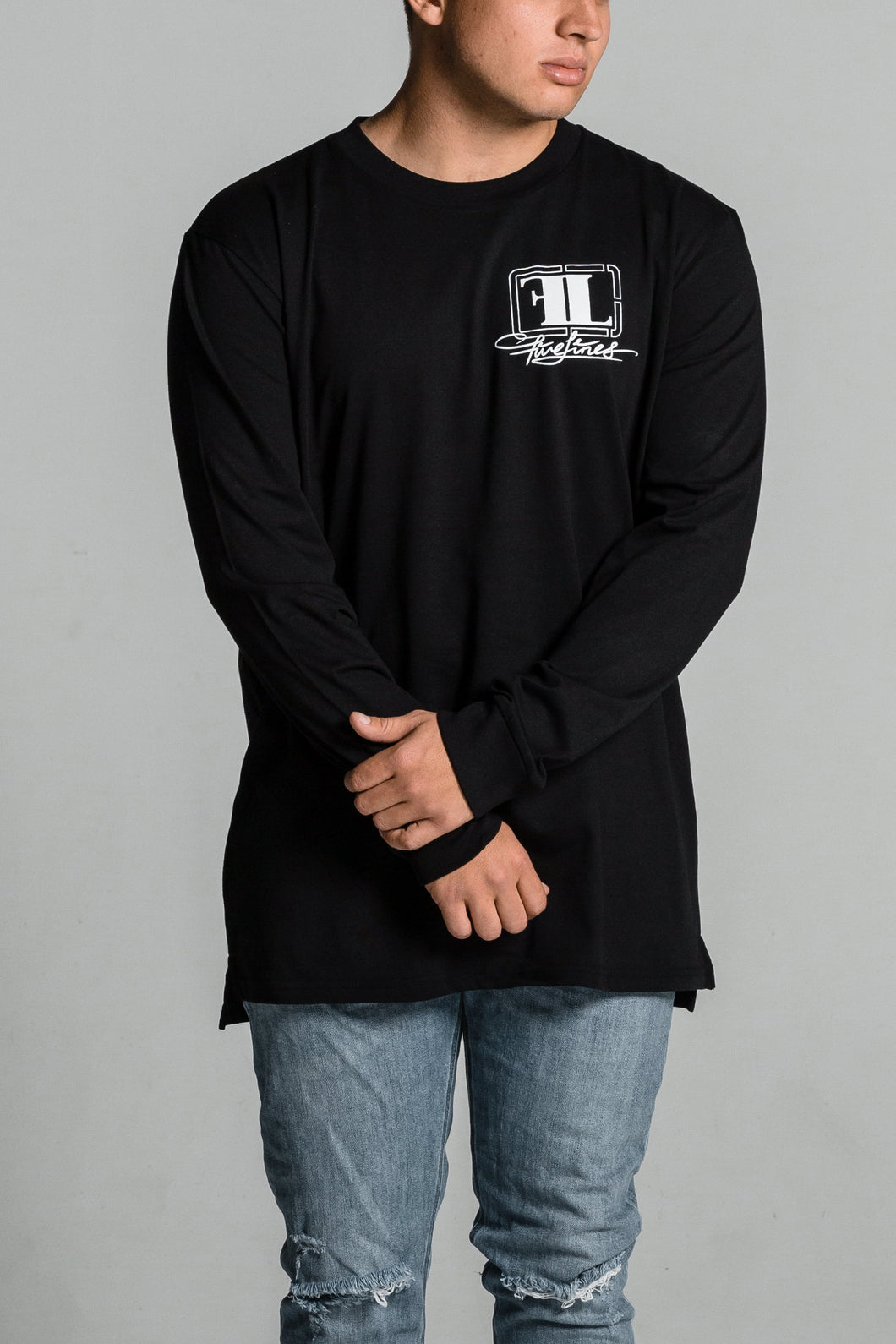 Five Lines 'Insight' Long Sleeve T-Shirt - Black (Relaxed Fit)