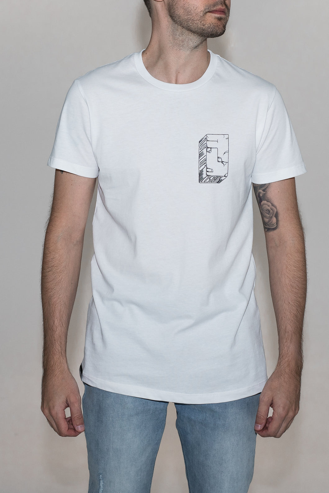 Five Lines 'Rock Solid' T-Shirt - White (Slim-Regular Fit)