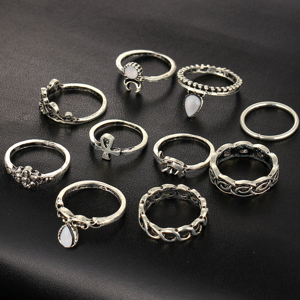 Delicate Elephant Moon Stackable Midi Rings Set - primatrends.com