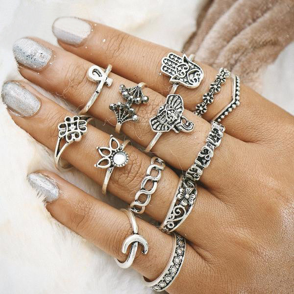 Boho Style Elephant Midi Ring Set - primatrends.com
