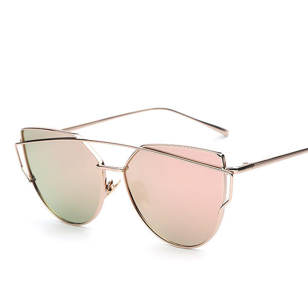 Cat Eye Metal Frame Mirror Shades Retro Vintage Fashion Sunglasses - primatrends.com