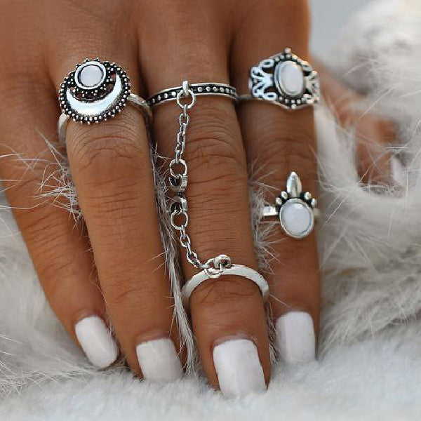 Tibetan Moon and Sun Midi 5 pcs Ring Set - primatrends.com