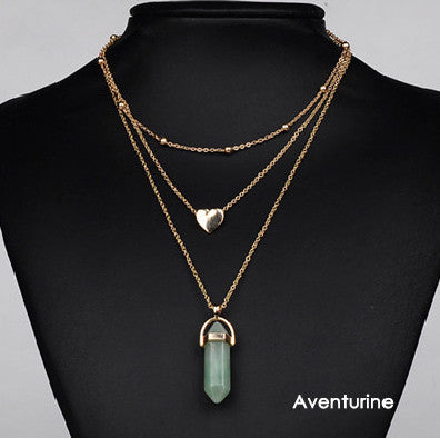 Multi-Layered Stone Drop Necklace - primatrends.com