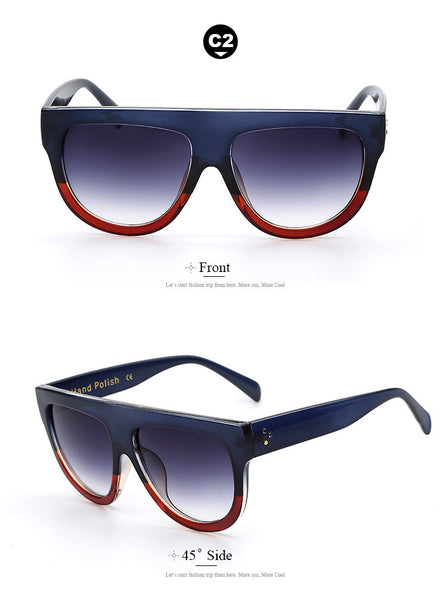 Flat Oversized Fashion Sunglasses - primatrends.com