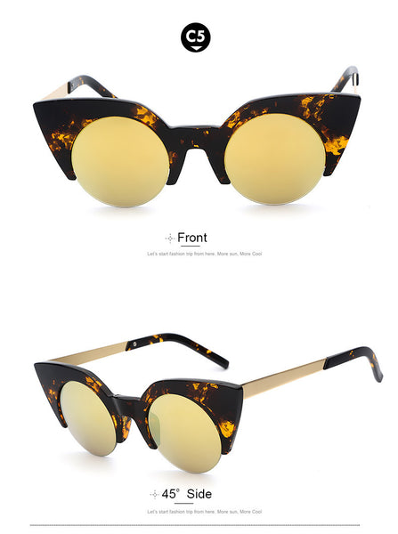 Half Metal Frame Mirror Lens Retro Vintage Fashion Sunglasses - primatrends.com