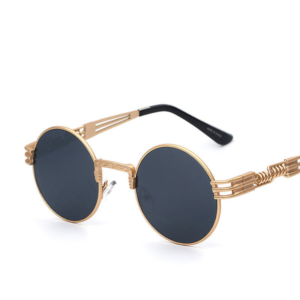Circle Coated Shade Lens Retro Vintage Metal Frame Fashion Sunglasses - primatrends.com