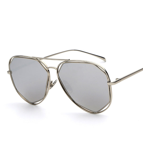 Rounded Oversized Metal Frame Mirror Shades Retro Vintage Fashion Sunglasses - primatrends.com