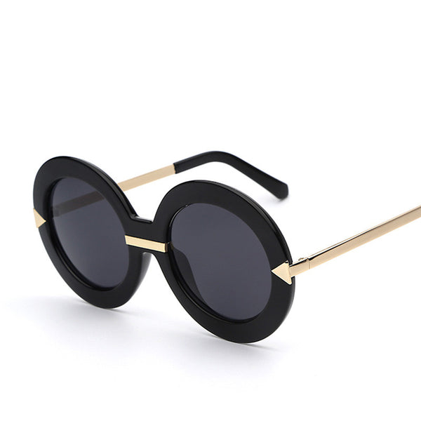 Lady Round Frame Arrow Temple Retro Vintage Fashion Sunglasses - primatrends.com