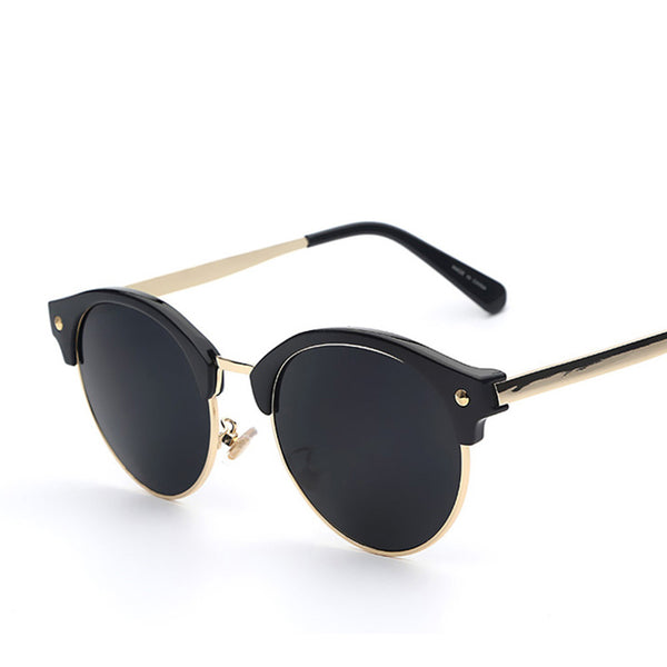 Round Frame Oval Lens Retro Vintage Fashion Sunglasses - primatrends.com