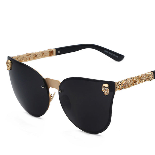 Rimless Metal Skull Detail Fashion Sunglasses - primatrends.com